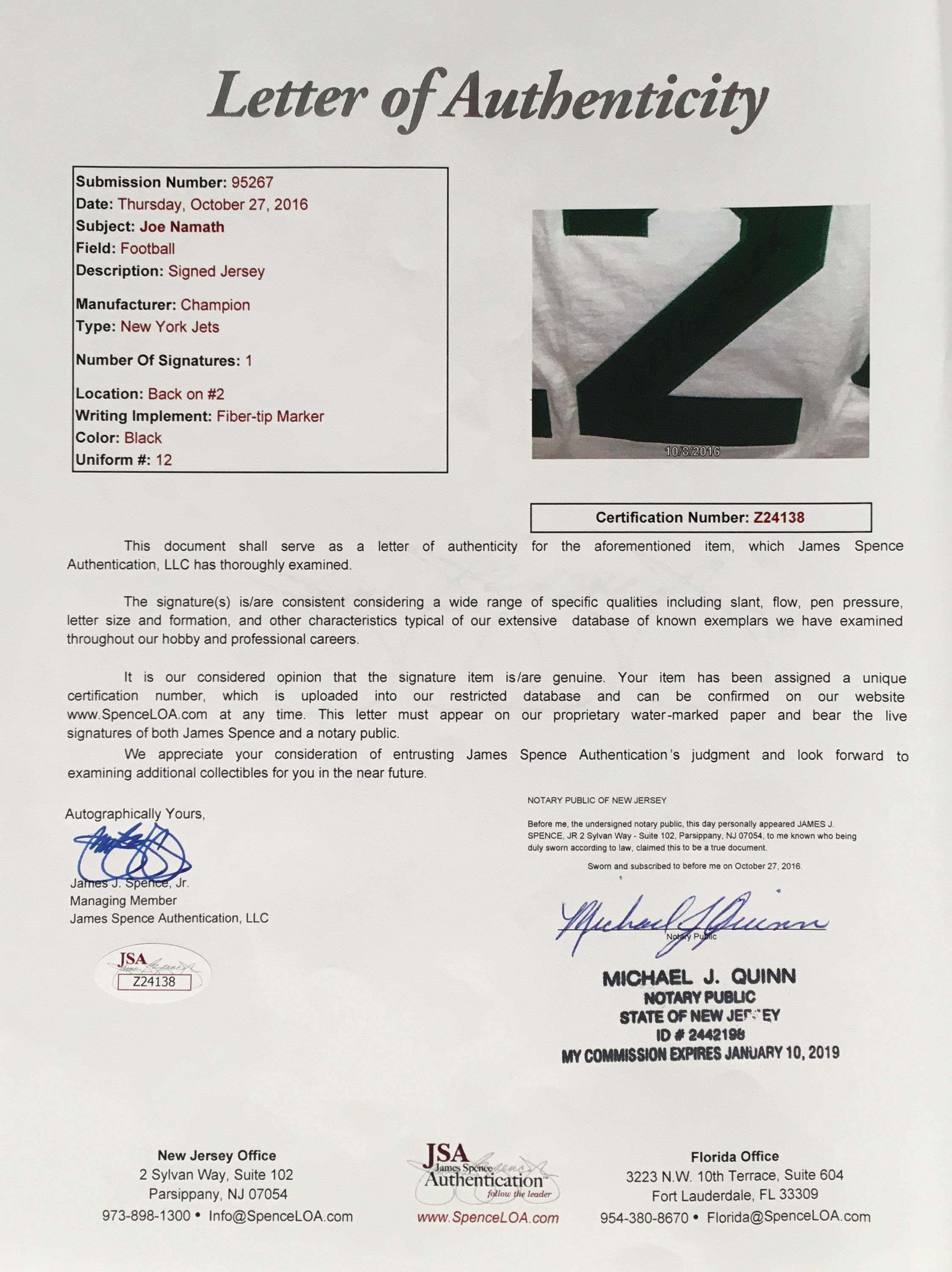 2d6fae223b7 Joe Namath Autographed Jersey JSA Authentication - JK Golf