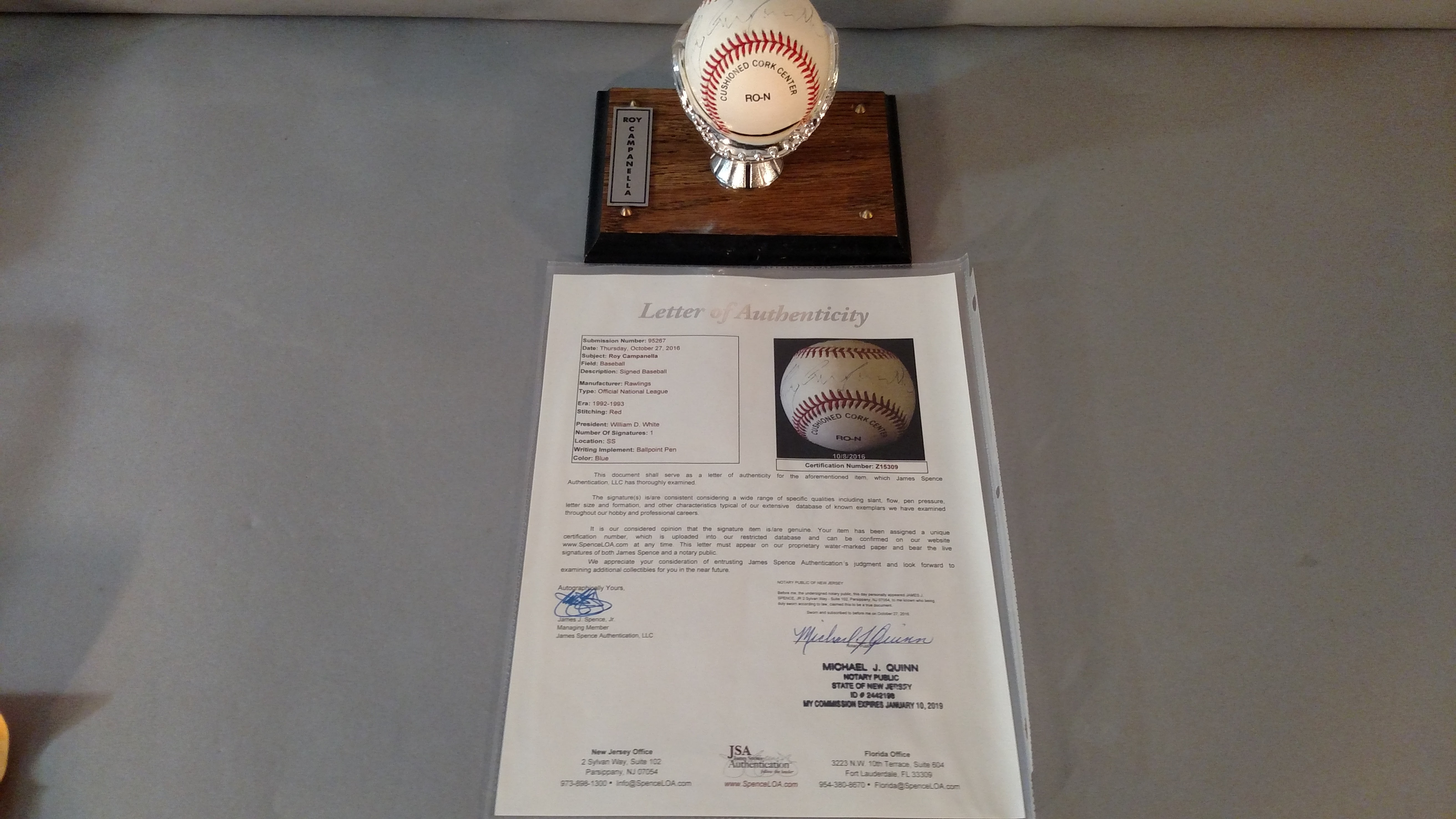 a0a6cb0908c Roy Campanella Signed Official NL Baseball JSA Authentication (SOLD)